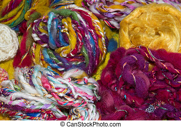 Homespun artyarns Handspun artyarns, colorful collage of...