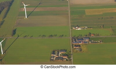 Wind Power Farm - High-angle shot of a wind power farm