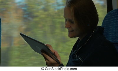 Woman Staying in Touch on the Way