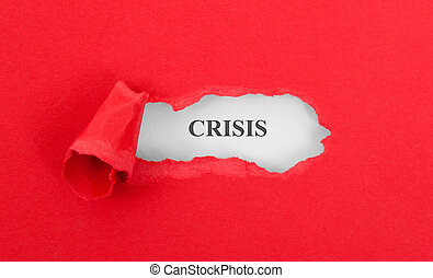 Text appearing behind torn red envelop - Crisis