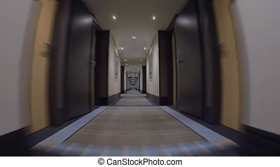 Moving Forward the Long Passageway in Hotel - Steadicam shot...