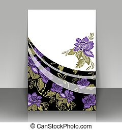 Flyer with violet flowers on a black background. Can be used...