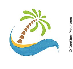 Tropical palm on island with sea. Vector logo