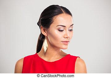 Portrait of a pretty female model - Jewelry concept....