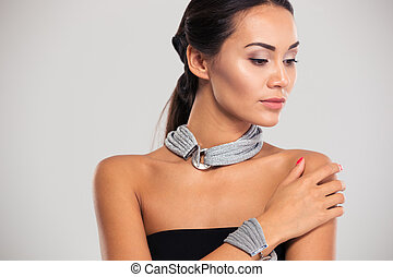 Portrait of a lovely female model - Jewelery concept....