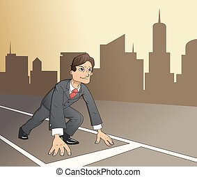 Businessman starting the race to success 4