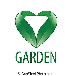 vector logo heart of green leaves