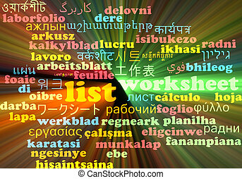 List multilanguage wordcloud background concept glowing -...