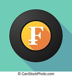 Vinyl record with a swiss franc sign - Illustration of a...
