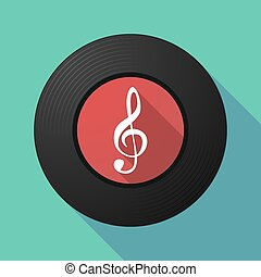 Vinyl record with a g clef - Illustration of a long shadow...