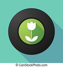 Vinyl record with a tulip