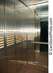 elevator - modern high-speed elevator with mirrors