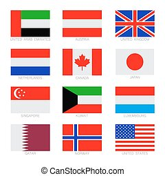 Flag set - Vector flat set of the flags icons. Simple vector...