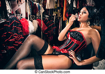 Sexy cabaret dancer in dressing room - Young sexy cabaret...
