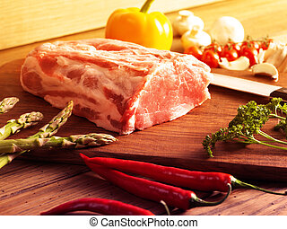 fresh raw steak - Raw steak on the wooden board.Filtered...