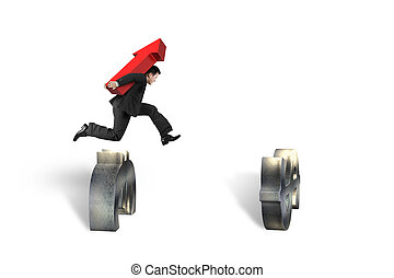 Businessman carrying arrow up jumping over currency symbol obstacles
