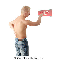 Men with pain in his back coling for help - Men with pain in...