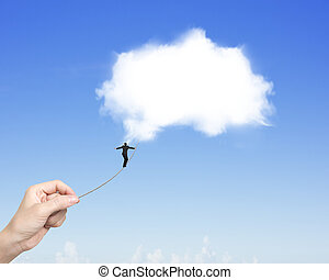 Businessman walking tightrope woman hand pulling toward white cloud