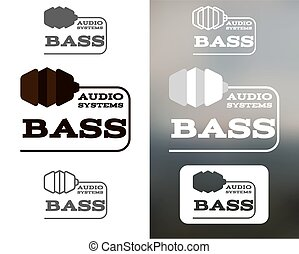 Music audio systems logo, badge, label, logotype, icon. Bass element. Headphones design. In monochtome, colorful, silhouette, line style. Vector