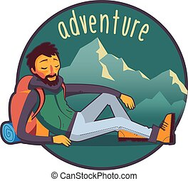 Bearded traveler with backpack in mountains - Happy bearded...