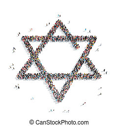 people in the shape of a Jewish star, religion - A group of...