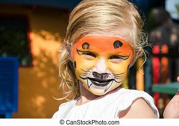 tigre, niña, Pintura, cara