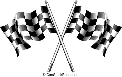 Checkered, Chequered Flags Motor - Two black and white...