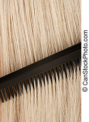 Combing blond hair - An old barbers comb running through...