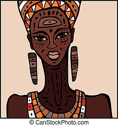 African woman Portrait - Portrait of African woman Hand...