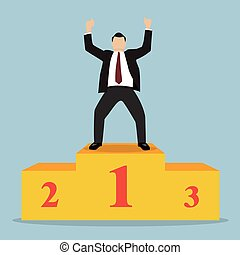 Businessman celebrates on Winning Podium