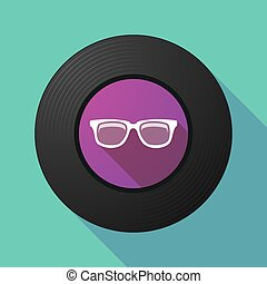 Vinyl record with a glasses