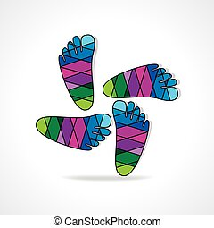 foot print - colorful human foot round of vector...