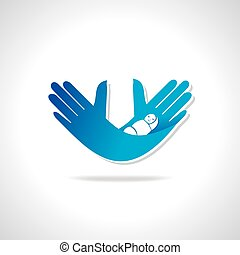 child care  - hands with child care vector illustration