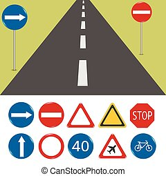 Road signs - Vector illustration of road signs. Format...