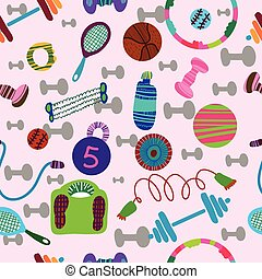 seamless pattern of sports equipment.