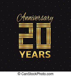 Anniversary - 10 years anniversary. Golden letters. Vector...