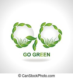 go green created with green leaf vector