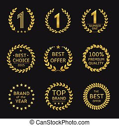 Award symbols - Golden Award symbols. Brand of the year,...