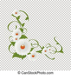 Vignette of flowers and greenery.Vector floral vine - Flower...