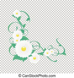 Vector floral vine, Vignette of flowers and greenery. -...