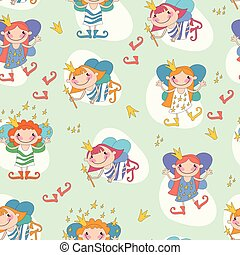 Vector illustration of girls fairies. Fairy with a magic wand and the stars of heaven, fairy with fiery hair.