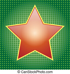 Star - Illustration of a red star on a green background