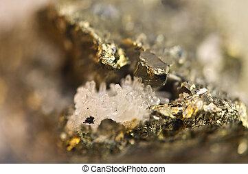 dorado, pirita, químico, fórmula, FeS2.,...