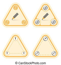 Set of four flat simple triangles and pencil
