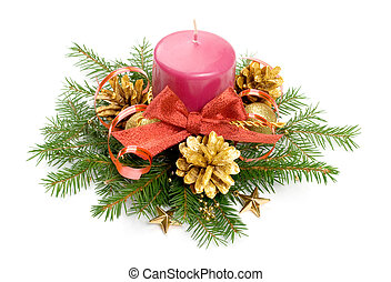 Candle balls and ribbon in spruce branches