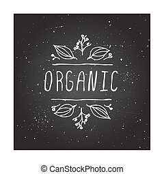 Organic - product label on chalkboard. - Hand-sketched...
