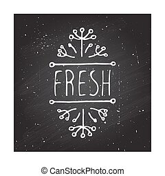 Fresh - product label on chalkboard. - Hand-sketched...