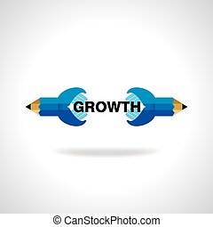 business growth idea with pencil vector