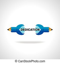 dedication idea with pencil vector