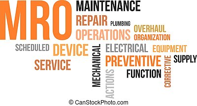 A word cloud of maintenance, repair and operations related...
